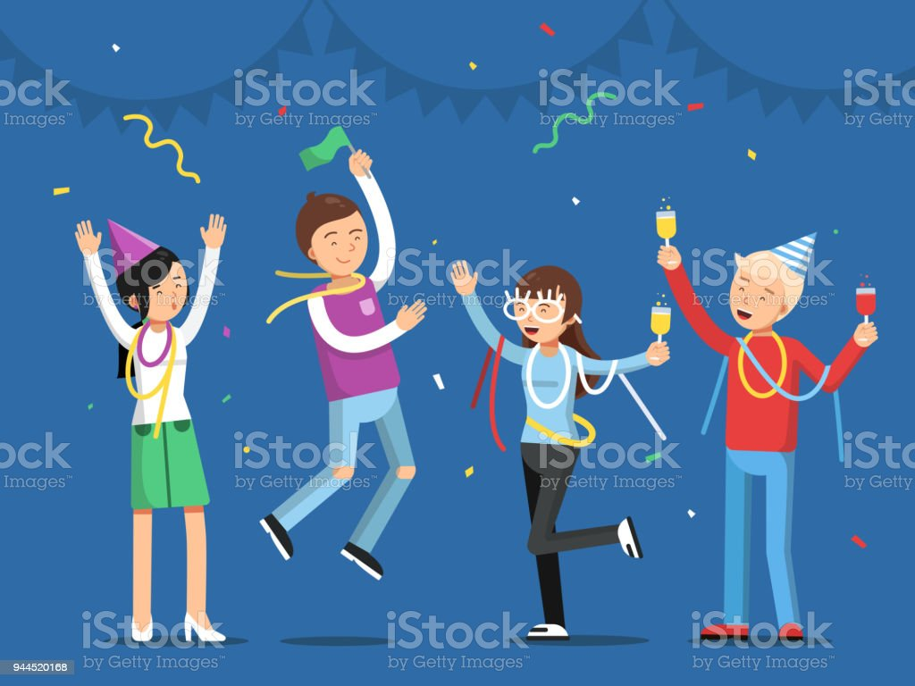 3cc184c65 Funny people celebrating on the party. Mascot designs in flat style funny  people celebrating on