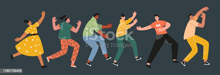 istock Funny people in different poses dance at a party or festival. Music talent contest 1283739403