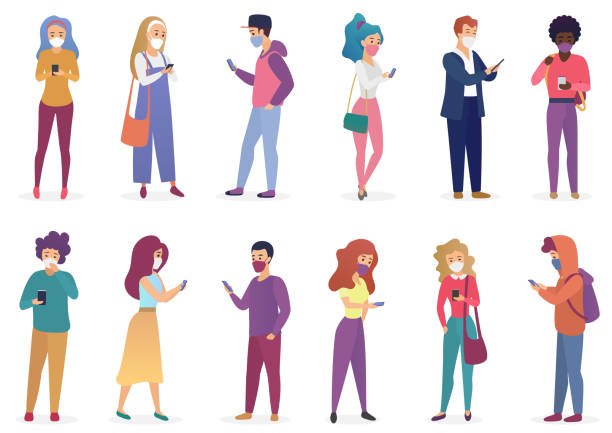 Funny people in face medical masks with smartphones cartoon flat vector illustration quarantine set isolated. Young men women in casual clothes, in different poses. Keep distance prevent coronavirus.. vector art illustration