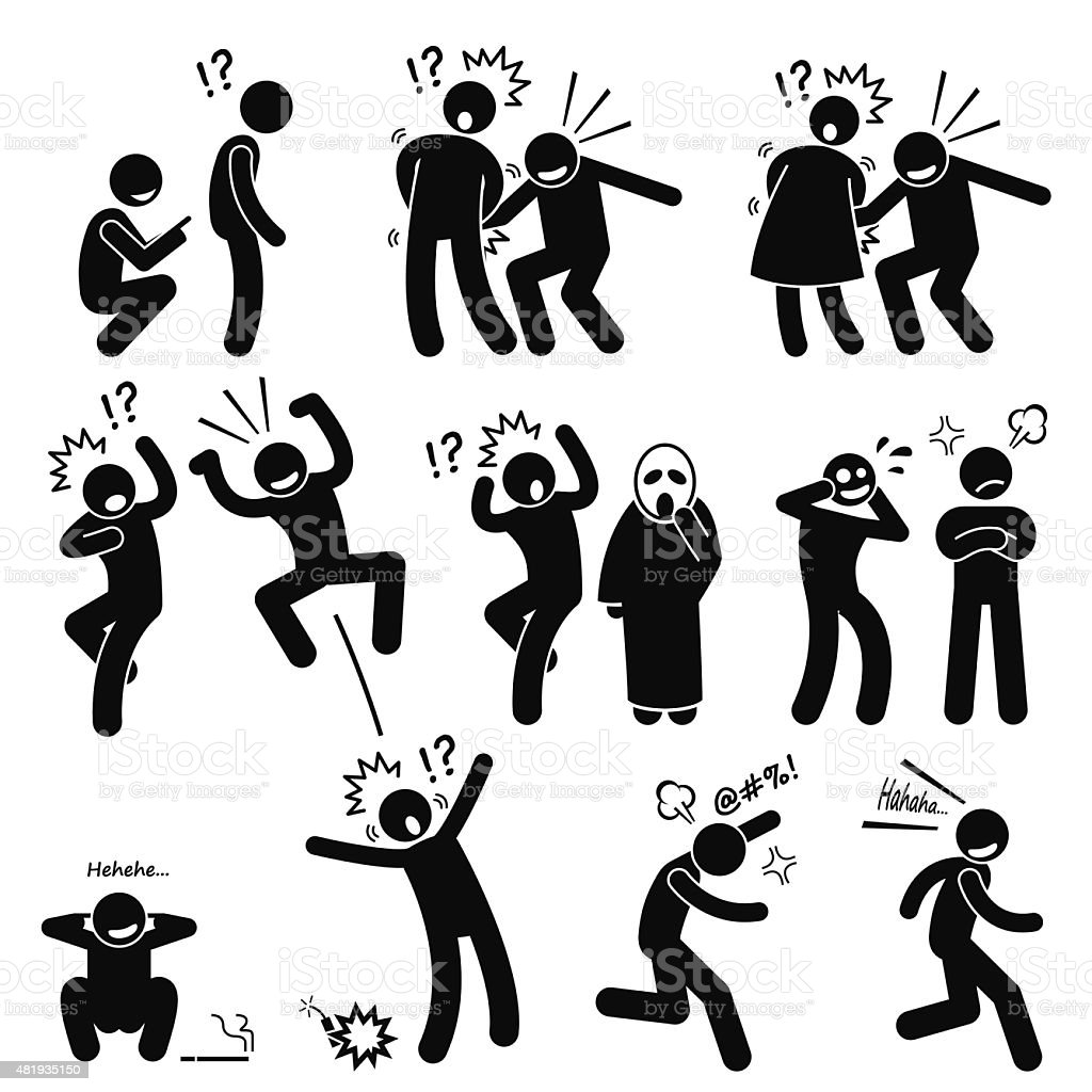 Funny People Prank Playful Actions Stick Figure Pictogram Icons vector art illustration