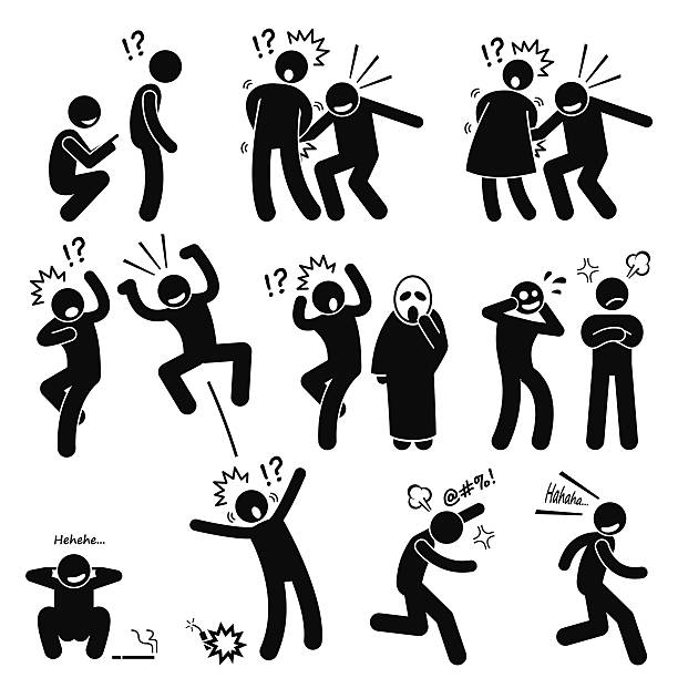 Funny People Prank Playful Actions Stick Figure Pictogram Icons Human pictogram representing funny but annoying people actions on other people. He is playful, irritating, rascal, and very naughty.  inconvenience stock illustrations