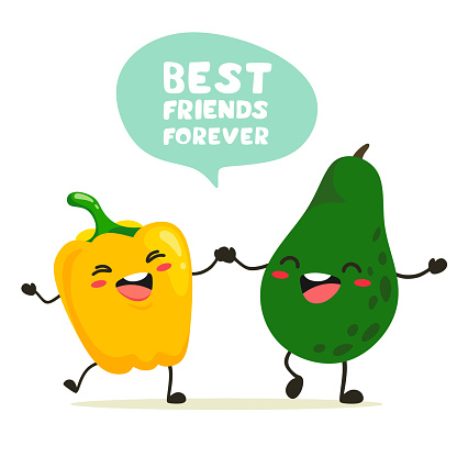 Funny peppers and avocados stand together holding hands. Handler for text with handwriting, lettering. Vector characters in cartoon style on a white background.