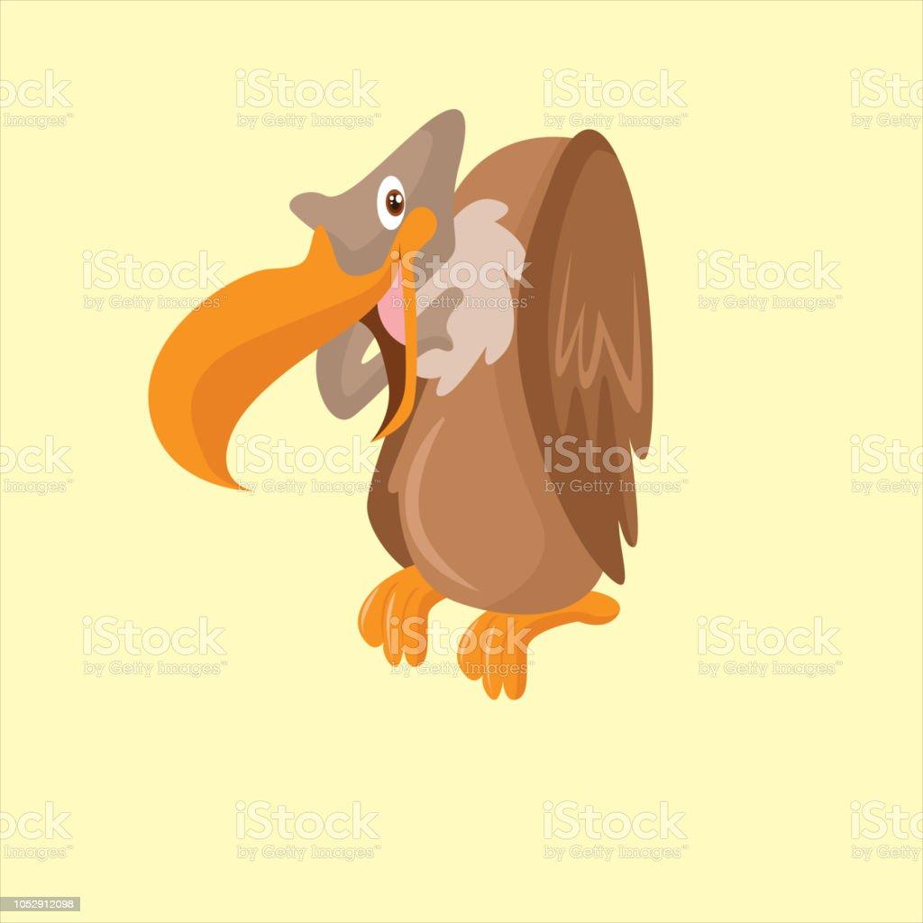 Funny Perchés Vautour Ou Condor Oiseaux Personnage De Dessin