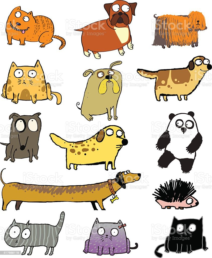 Funny pets and other animals vector art illustration