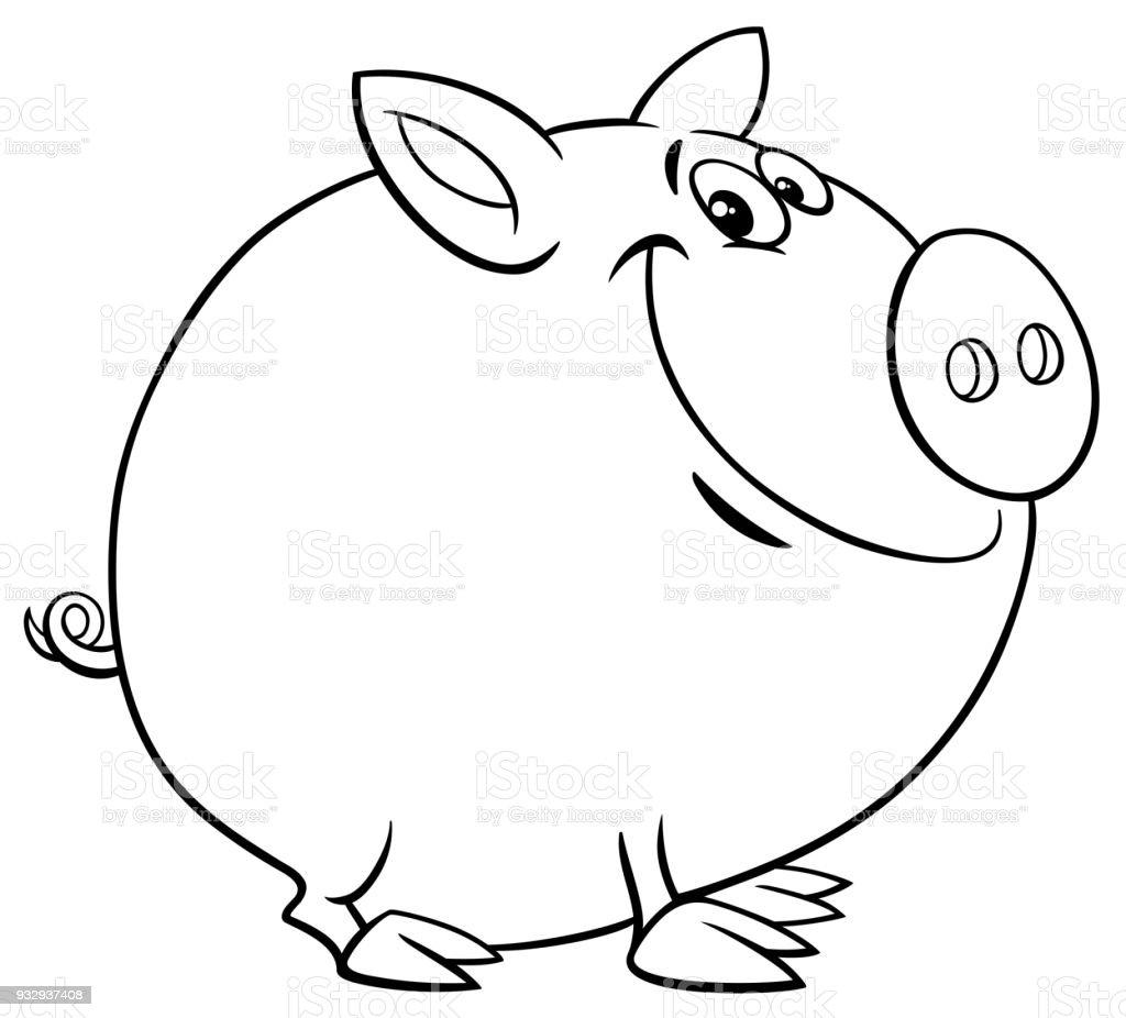 Funny Pig Cartoon Character Color Book Stock Vector Art & More ...