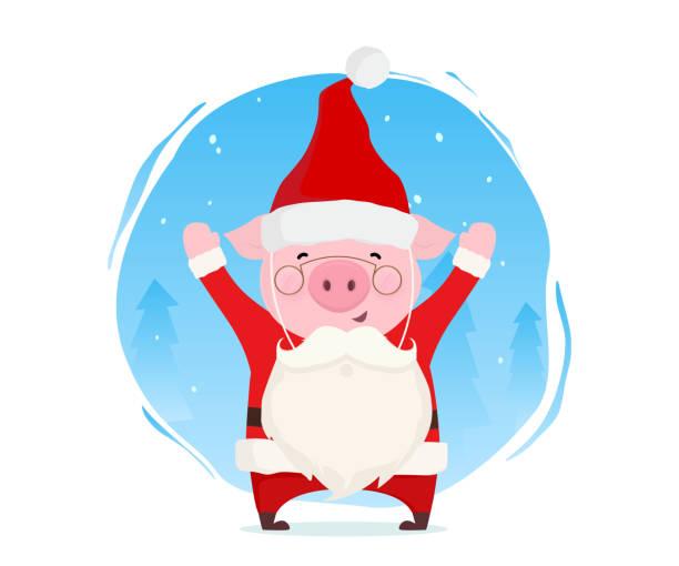 Funny pig dressed in Santa Claus costume with fake beard. Christmas illustration. Flat vector design. vector art illustration