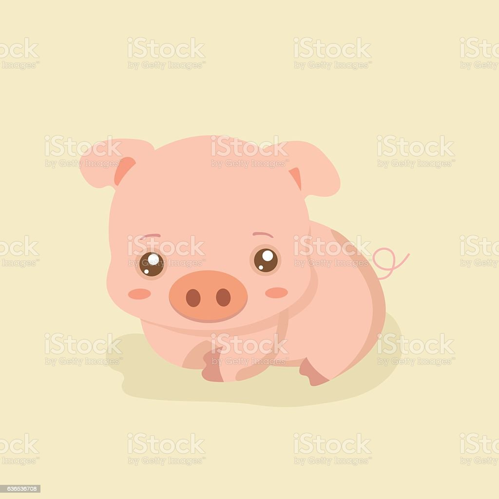 Funny pig on pastel background. vector art illustration