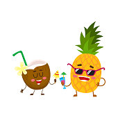 Funny pineapple and coconut characters drinking cocktails, having fun