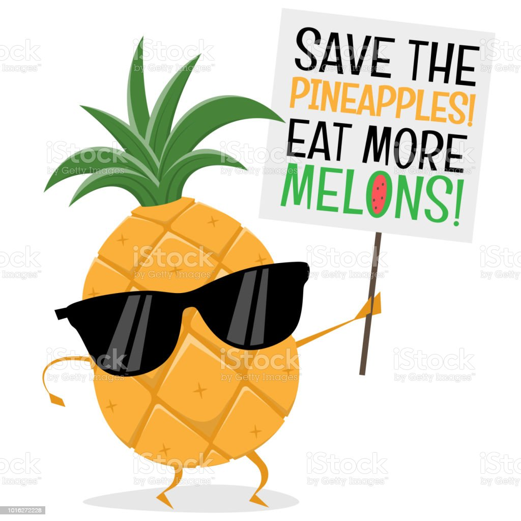 funny pineapple demonstrator wants people to eat more melons vector art illustration