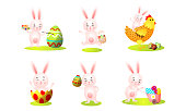 Set of isolated hand drawn cute funny pink rabbits playing and having fun over white background vector illustration. Happy children books illustrations concept