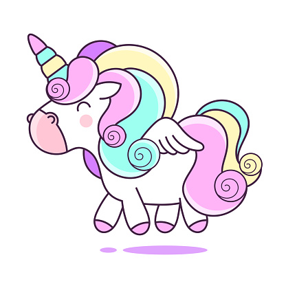 Funny Pink Unicorn on a White Background. Vector Illustration with Fantasy Ponny for Use in Design