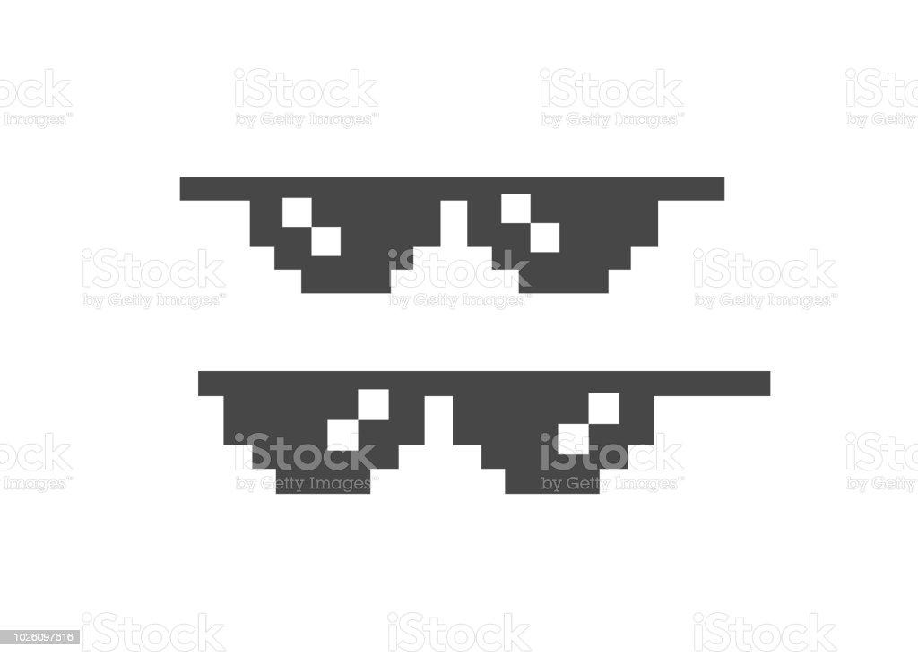 面白いピクセル サングラス。8 ビット スタイルのサングラス ベクトル アイコン ベクターアートイラスト