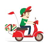 Funny pizza boy delivering pizza boxes scooter. Flat Vector illustration.