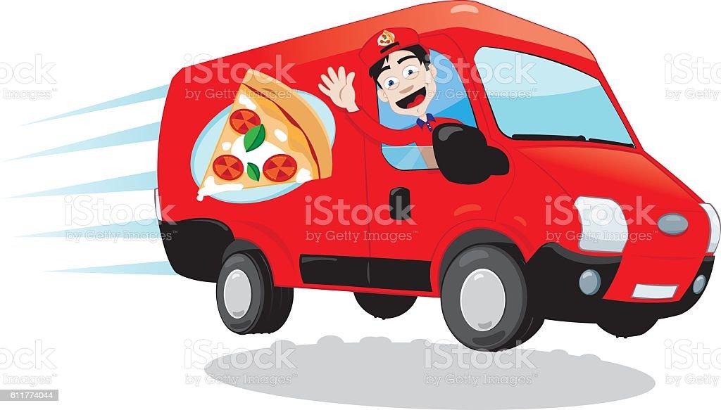 Funny Pizza Delivery van vector art illustration
