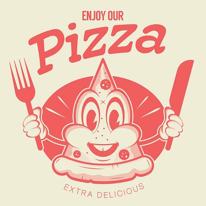 funny pizza logo in retro style