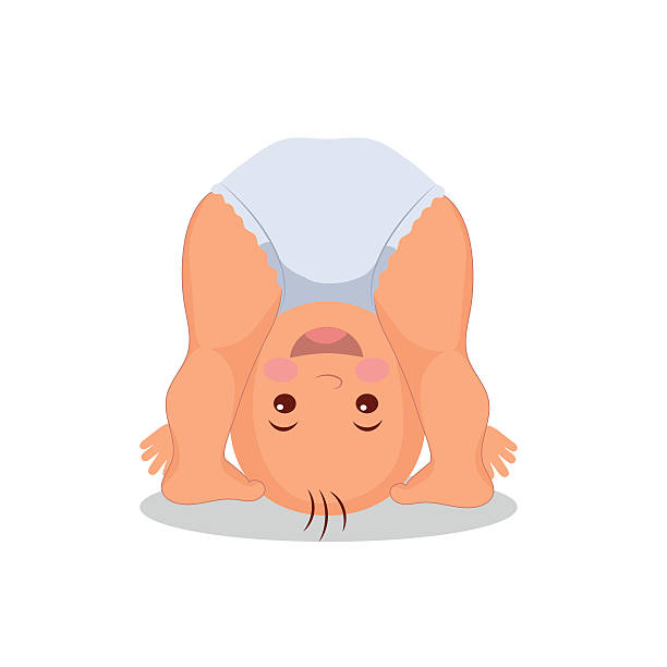 Funny playing baby standing on his head. vector art illustration