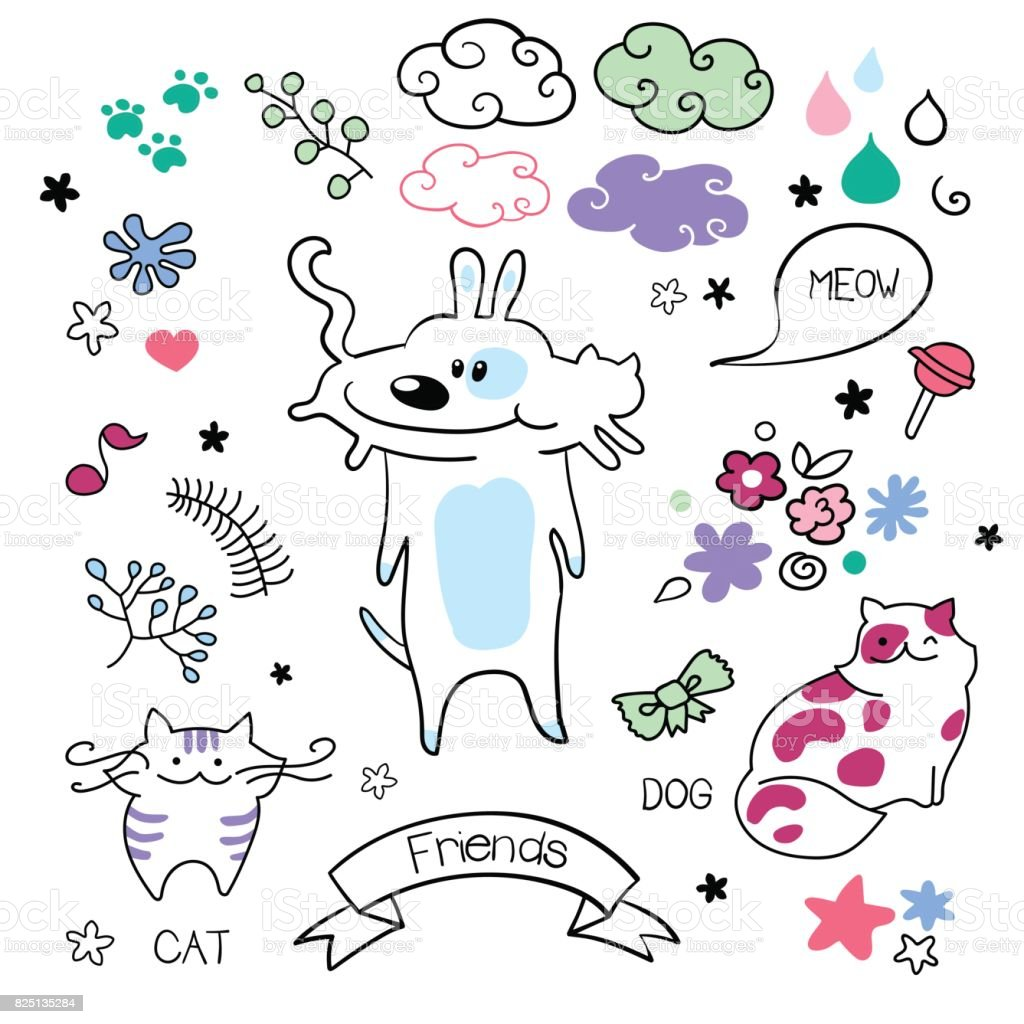 funny playing cats and dogs vector set doodle colorful friends
