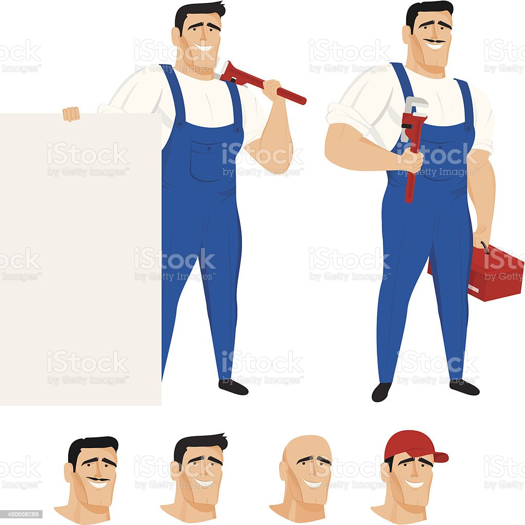 Funny plumber mascot in different poses royalty-free funny plumber mascot in different poses stock vector art & more images of adult