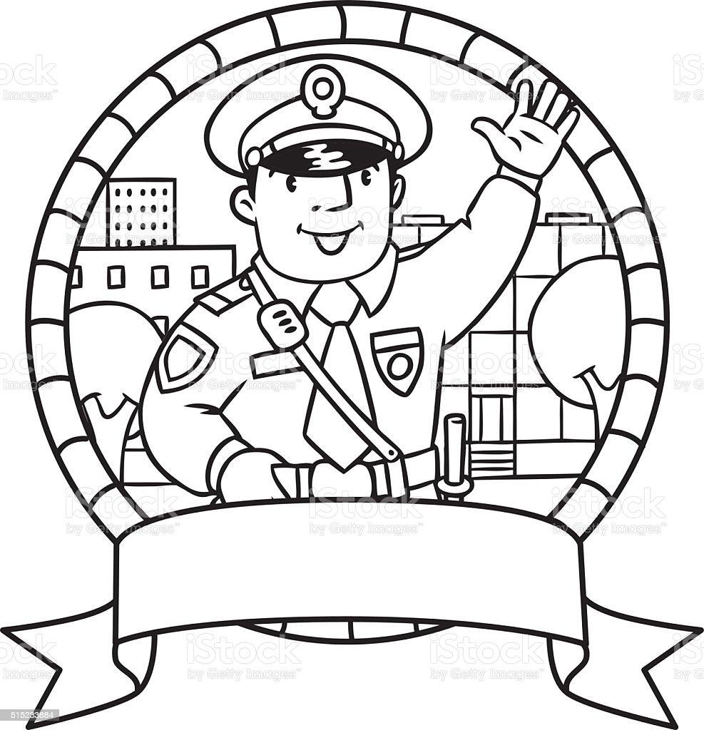 Ilustración de Divertido Policía Libro Para Colorear O Emblema y más ...