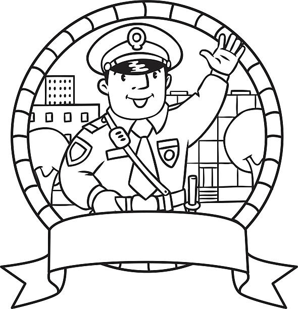 Royalty Free Cute Cartoon Character Of Policeman Boy In