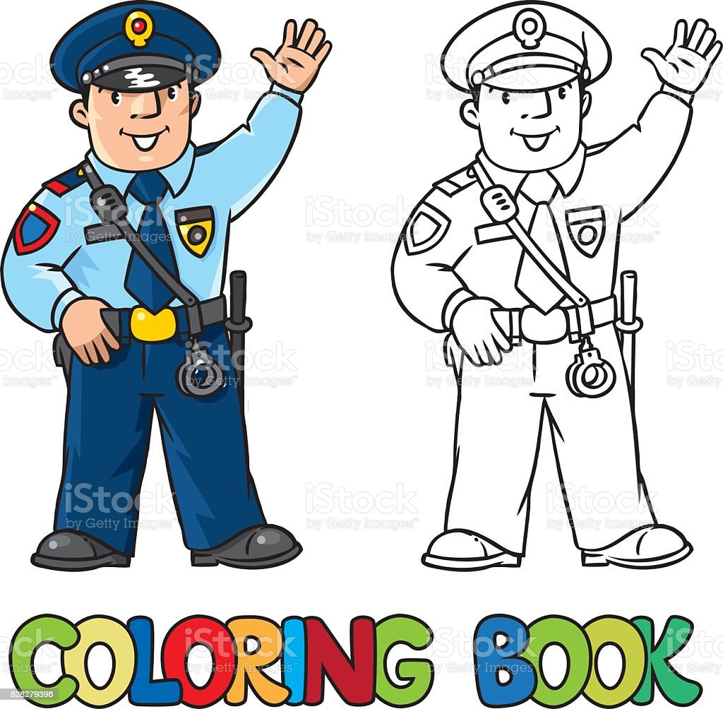 - Funny Policeman Coloring Book Stock Illustration - Download Image