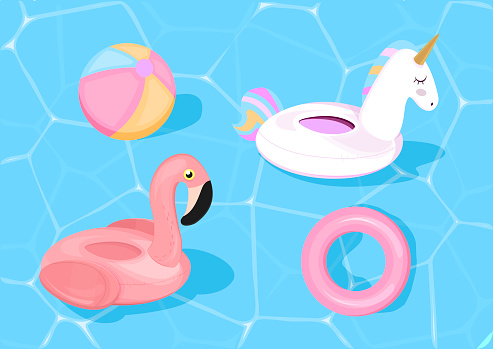 Funny pool floats with flamingo and unicorn. Vector illustration. Pool toys on blue sea background.