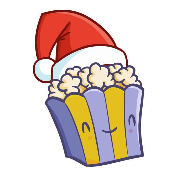 illustrazioni stock, clip art, cartoni animati e icone di tendenza di funny popcorn wearing santa's hat for christmas - christmas movie