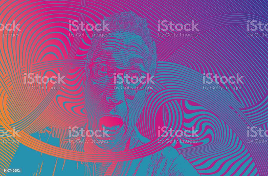 Funny portrait of Senior man and anxiety vector art illustration