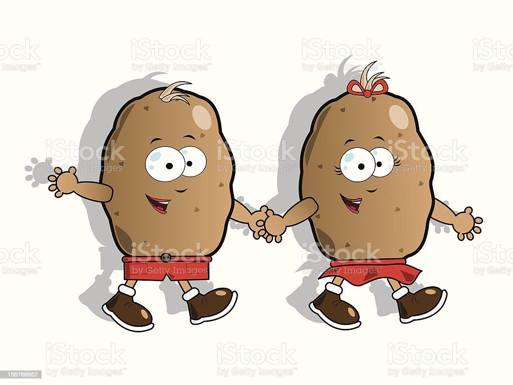 Funny potatoes vector art illustration