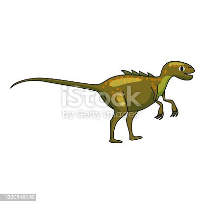 istock Funny prehistoric Allosaurus dinosaurus. Ancient wild monsters reptiles cartoon style. Vector isolated 1330548126