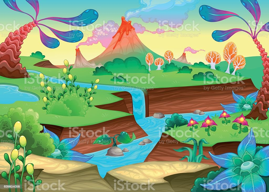 Funny prehistoric landscape with river and volcanoes vector art illustration