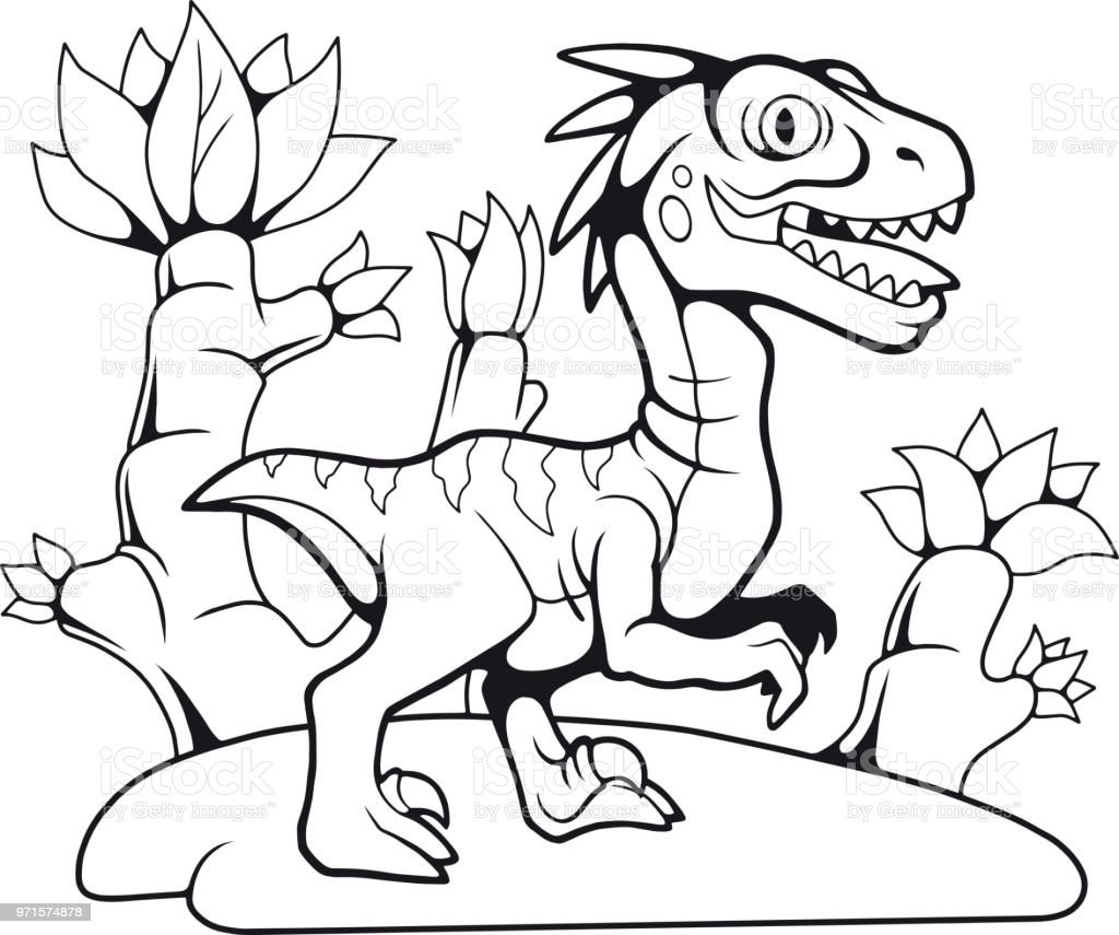 Ilustración de Divertido Prehistórico Velociraptor Dibujo De ...