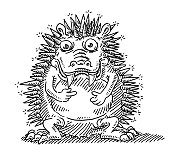 Funny Prickly Monster Animal Drawing