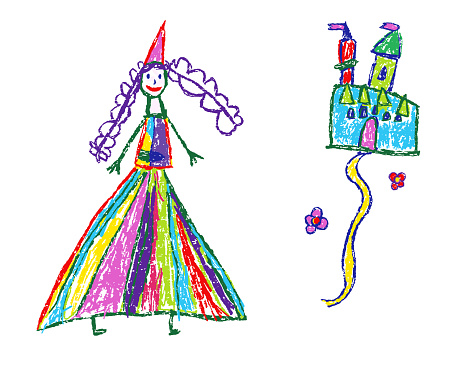 Funny princess or queen and castle. Crayon like kid`s hand drawn fairy kingdom.
