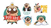 Funny pug sticker set. Illustrations for t-shirts, posters, sweatshirts and souvenirs