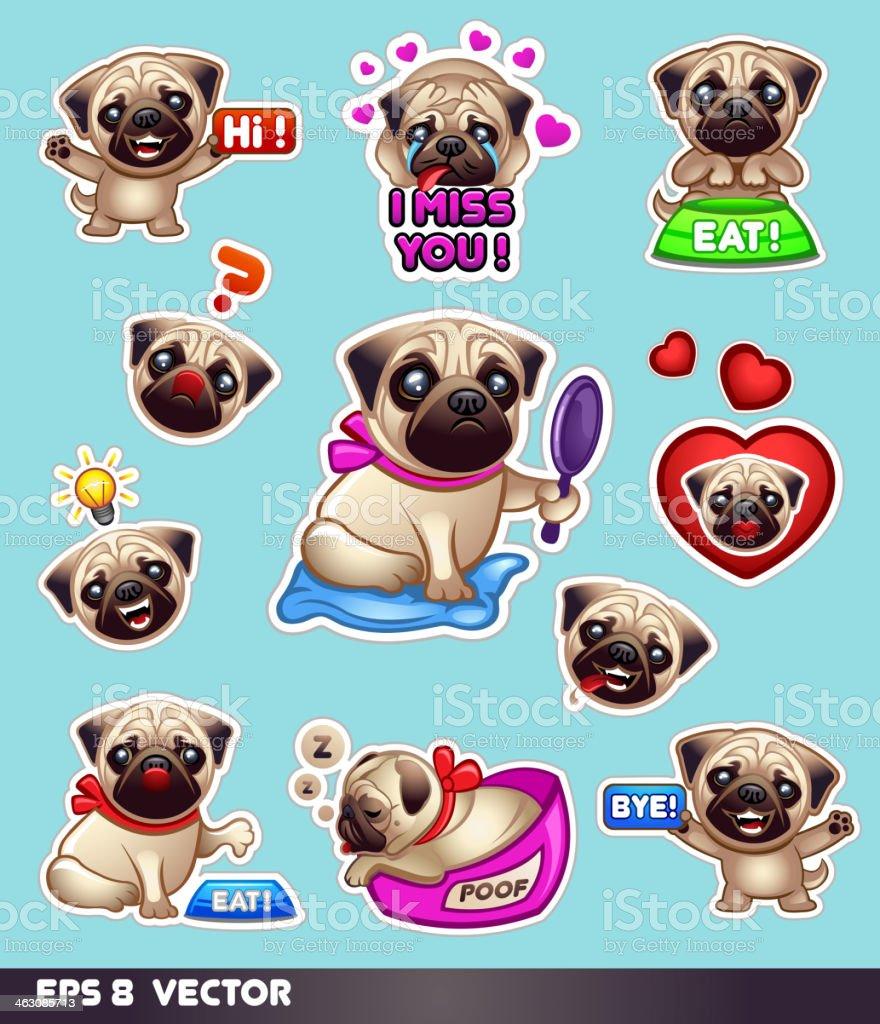 Funny pugs vector art illustration