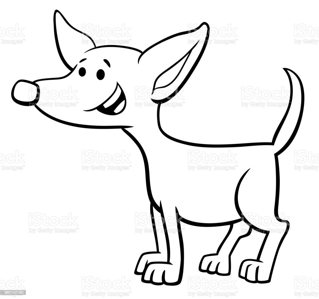 Komik Köpek Yavrusu Karikatür Karakter Boyama Kitabı Stok Vektör