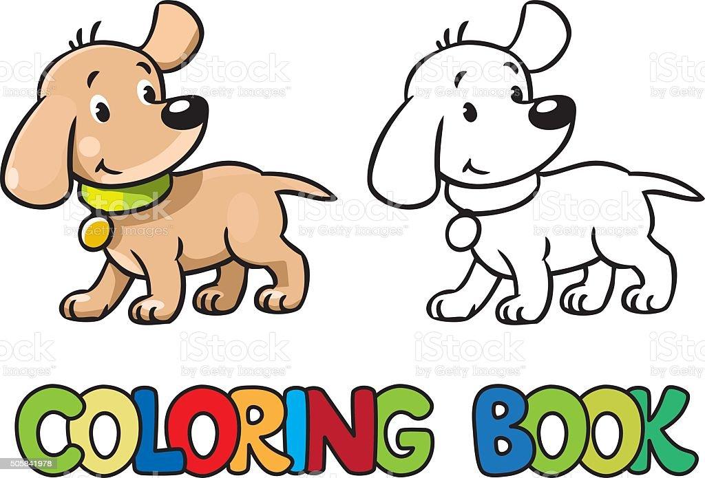 Lustige Hund Malbuch Stock Vektor Art und mehr Bilder von Ausmalen ...