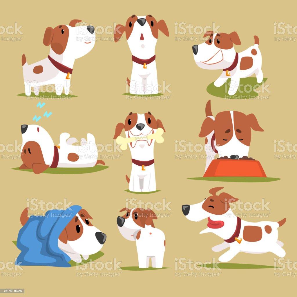 Lustige Welpen Alltag setzen, süßen kleinen Hund in seiner Evereday Aktivität schillernde Persönlichkeit – Vektorgrafik