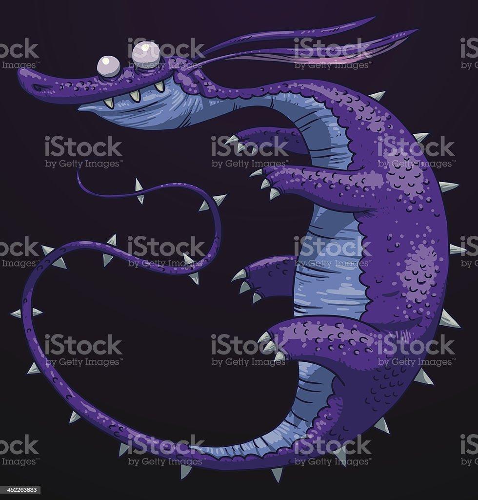 Funny purple dragon royalty-free stock vector art