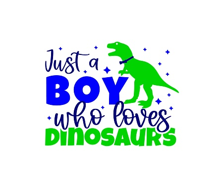 Funny quote with dinosaur silhouette Just a boy who loves dinosaurs. T-shirt print design, typographic poster, greeting card
