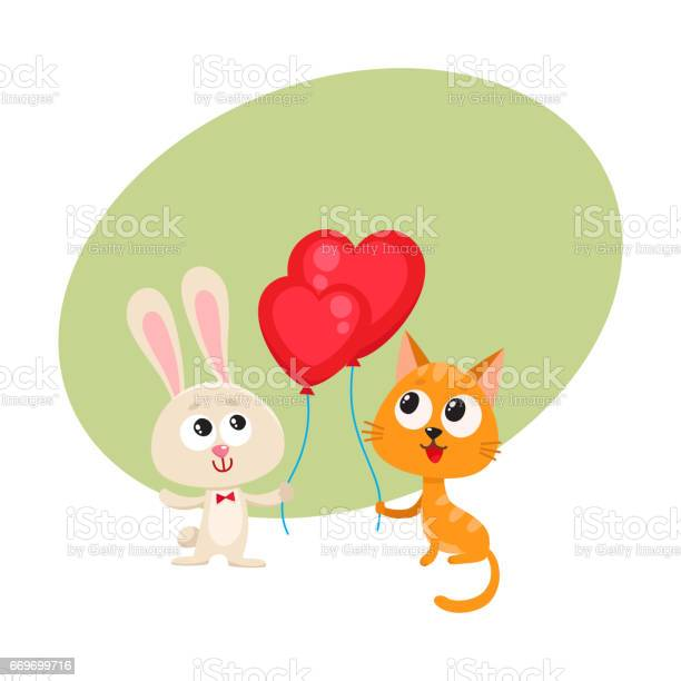 Funny rabbit bunny and cat holding red heart shaped balloon vector id669699716?b=1&k=6&m=669699716&s=612x612&h=wqc54ivfhfxqcdiotdd wd8ucc9w67k4otedvwg0ysu=
