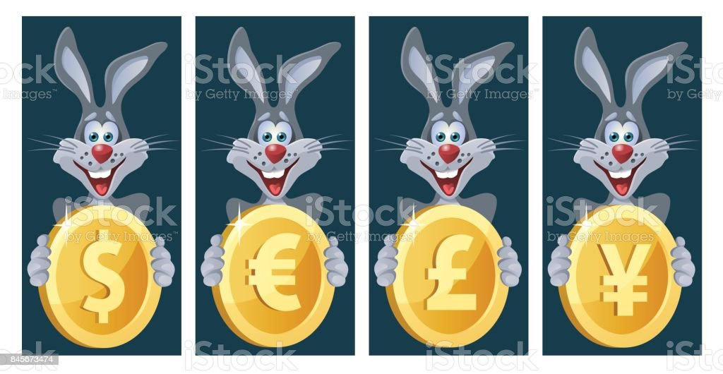 Funny Rabbit Holds Symbols Of Different Currencies Dollar Euro Yen