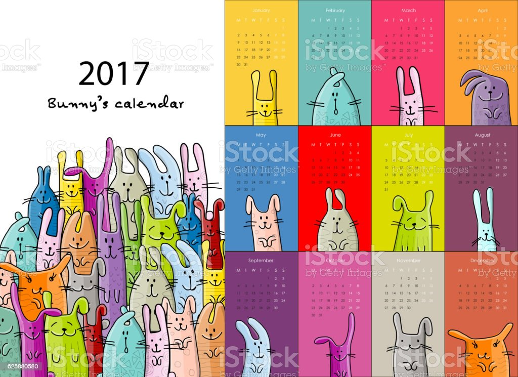 Funny rabbits. Design calendar 2017 – Vektorgrafik