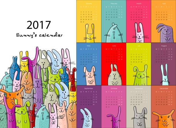 ilustraciones, imágenes clip art, dibujos animados e iconos de stock de funny rabbits. design calendar 2017 - calendario de animales