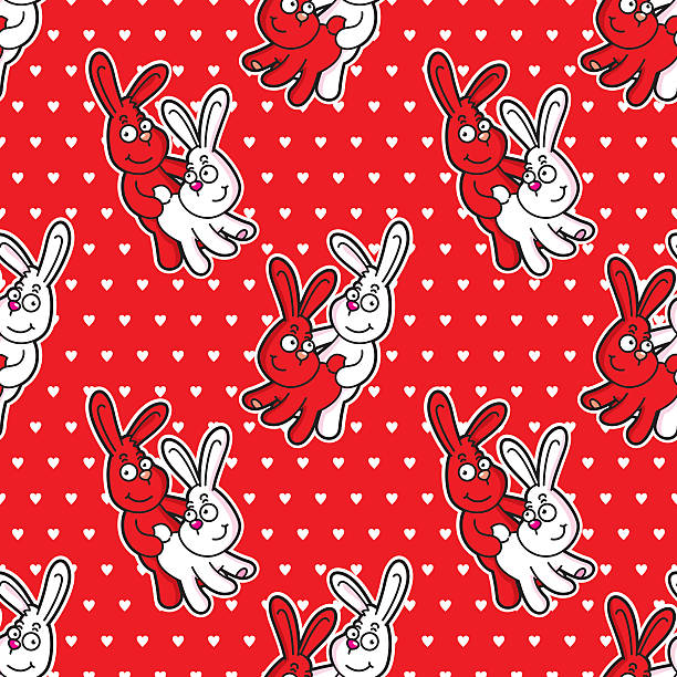 Lapins motif sans couture drôle - Illustration vectorielle