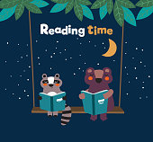 Funny raccoon and bear reading books on swing