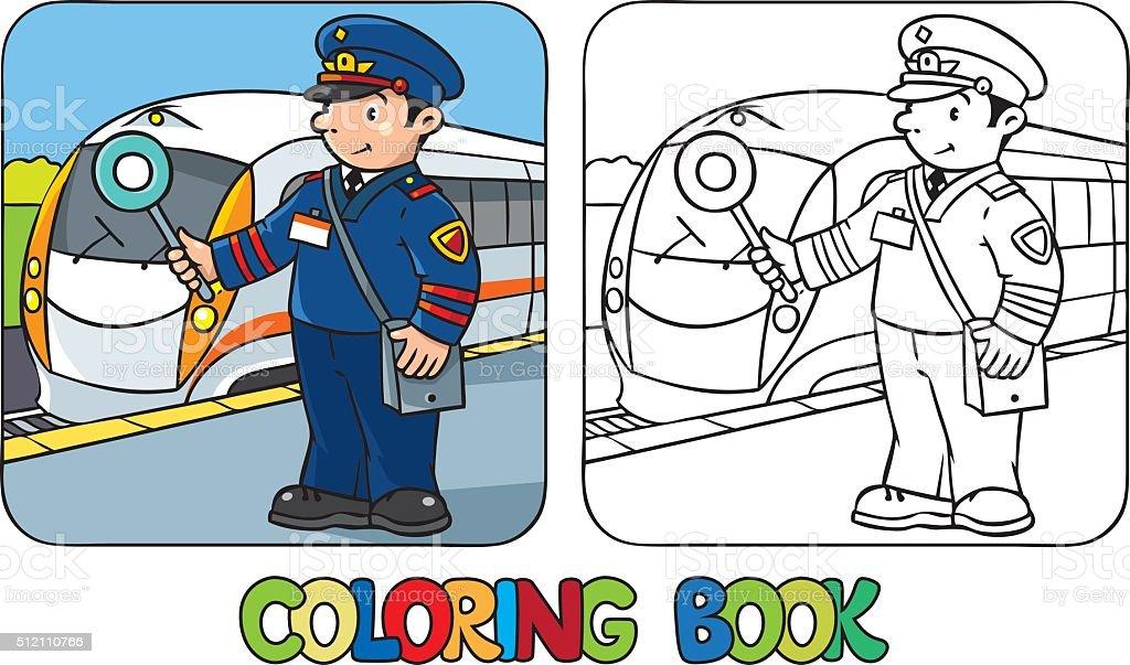 Ilustración De Ferrocarrilero Divertido Libro Para Colorear Y Más