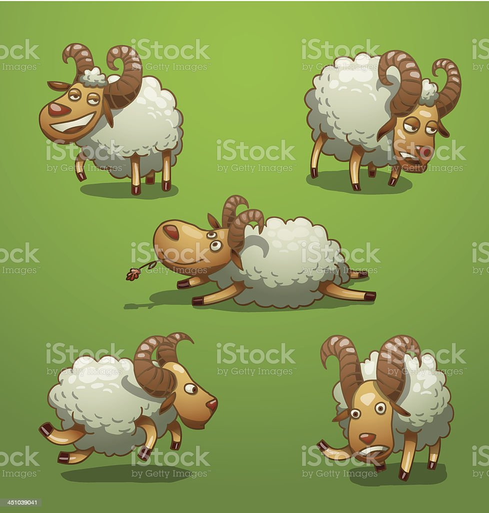 Funny rams set royalty-free funny rams set stock vector art & more images of animal
