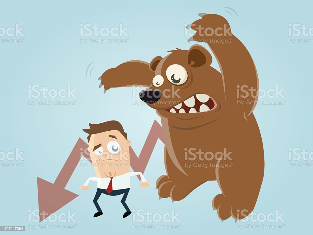 funny recession cartoon with man and bear vector art illustration